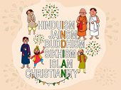 stock photo of indian independence day  - Creative illustration with different religion - JPG