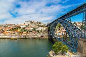 picture of dom  - Dom Luis I bridge in Porto in Portugal in a summer day - JPG