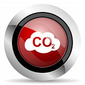 pic of carbon-dioxide  - carbon dioxide red glossy web icon original modern metallic and chrome design for web and mobile app on white background   - JPG