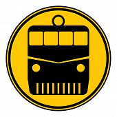 picture of locomotive  - Locomotive button on white background - JPG