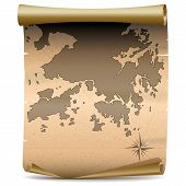picture of lantau island  - Scroll with Hong Kong Vintage Map isolated on white background - JPG