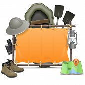 pic of panama hat  - Blank camping frame with hat - JPG