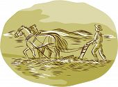 stock photo of oval  - Etching engraving handmade style illustration of farmer and horses plowing field viewed from side set inside oval shape with mountains in the background - JPG
