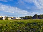 picture of early morning  - Cottages near the football field - JPG