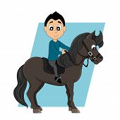 picture of pony  - Illustration of a cute little boy riding a pony isolated on a white background - JPG