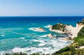 picture of sidari  - white rocks in the sea near Cape Drastis on sunlight on Corfu island Greece - JPG