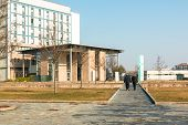 pic of entryway  - public modern hospital building entrance in sunny day - JPG