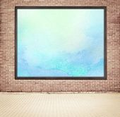pic of cinder block  - Painted watercolor picture with wooden frame hanging on brown brick wall near the street - JPG