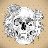 pic of day dead skull  - Vintage Greeting Card with Skull and Flowers on Beige Background - JPG