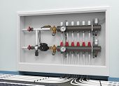 stock photo of floor heating  - Heated floor collector manifold  - JPG