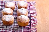 foto of icing  - Whole meal muffins with raisin coated with icing on wire rack - JPG