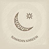 image of crescent  - Ramadan Kareem greeting card in retro style - JPG