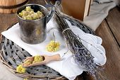 image of roughage  - Different dried herbs on table close up - JPG