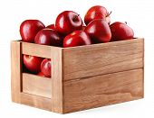 picture of wooden crate  - Red apples in wooden crate isolate on white - JPG