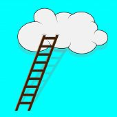 stock photo of step-ladder  - Stairway to the cloud - JPG