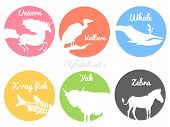 stock photo of color animal  - Color animals silhouettes labels in colorful circles - JPG
