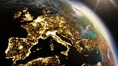 Planet Earth Europe Zone. Elements Of This Image Furnished By Nasa poster