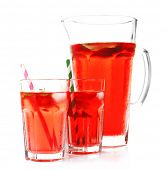 stock photo of jug  - Full jug and glasses of strawberry juice isolated on white - JPG