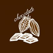 picture of cocoa beans  - logo cocoa beans chocolate pieces and chocolate lettering in a retro style - JPG