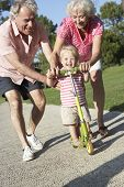 stock photo of granddaughters  - Grandparents Teaching Granddaughter To Ride Scooter In Park - JPG