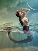 stock photo of mermaid  - Fantasy landscape with mermaid in the ocean - JPG