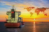 pic of ship  - Ship on sea and World map background  - JPG