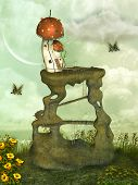 foto of magical-mushroom  - Fantasy landscape in the garden with mushroom - JPG