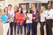 stock photo of tutor  - Group Portrait Of College Students With Tutor - JPG