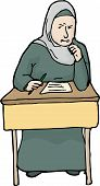 picture of quiz  - Illustration of angry Muslim female student having difficulty with quiz - JPG