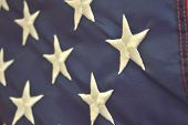 stock photo of democracy  - Warm patriotic holiday background of the american flag closeup - JPG