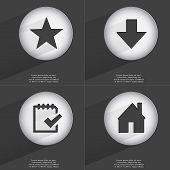 stock photo of tasks  - Star Arrow directed down Task completed House icon sign - JPG