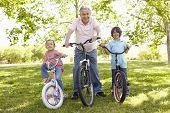 picture of grandfather  - Hispanic Grandfather With Grandchildren In Park Riding Bikes - JPG