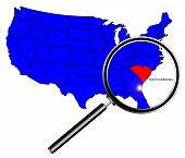 image of united states map  - South Carolina state outline set into a map of The United States of America under a magnifying glass - JPG