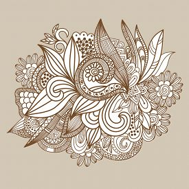 image of floral design  - Hand drawn abstract doodle card design - JPG