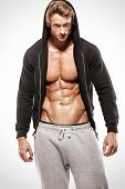 Strong Athletic Muscle Man Showing Abdominal Muscles In Jacket poster
