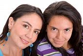 pic of sissi  - beautiful sisters portrait over a white background - JPG