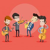Постер, плакат: Band of musicians playing on musical instruments Group of young musicians playing on musical instru
