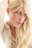 image of blonde woman  - young blond woman portrait - JPG