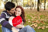 stock photo of valentines day  - Love and affection between a young couple at valentine day  - JPG
