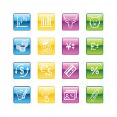 Aqua finance icons. Vector file has layers, all icons in four versions are included.