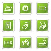 Electronics web icons set 2, green square sticker series