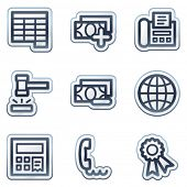 Finance web icons set 2, deep blue contour sticker series