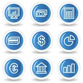 Finance web icons set 1, blue glossy circle buttons