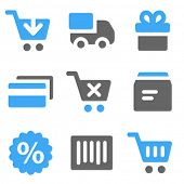 On-line shopping web icons, blue and grey solid icons