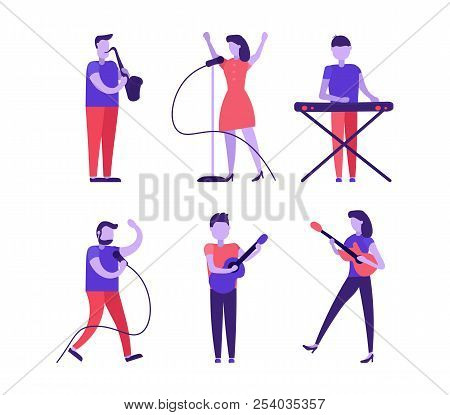 Musicians And Singer Set Playing