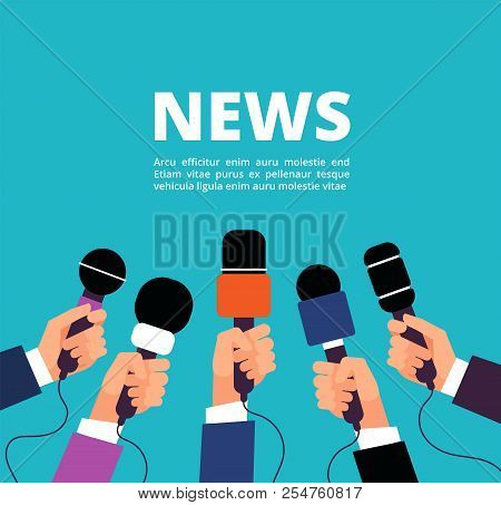 News Concept With Microphones Broadcasting