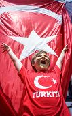 Boy and  Waving Fabric Flag of Turkey, Turkish National Flag Fabric Background Texture, Turkey Flag  poster