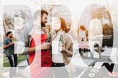 Man And Woman Outside Barbecue Beer Drinking. Smoked Food. Nature Activity. Outside Relaxing Activit poster