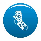 Sock With Pompon Icon. Simple Illustration Of Sock With Pompon Icon For Any Design Blue poster
