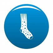 Sock With Star Icon. Simple Illustration Of Sock With Star Icon For Any Design Blue poster